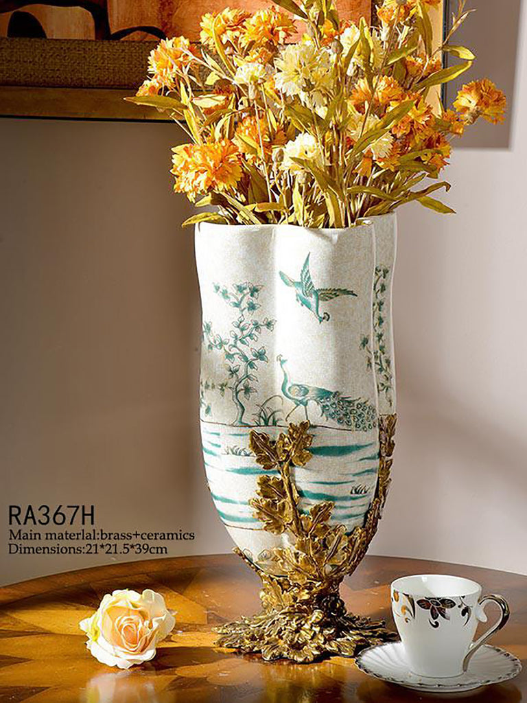 Porcelain Brass Vase Centerpiece