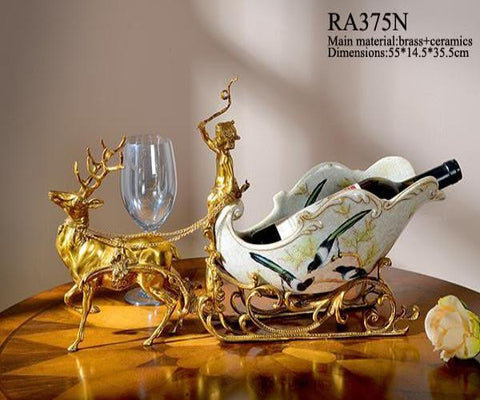 Bronze Sleigh Dear Porcelain Wine Rack