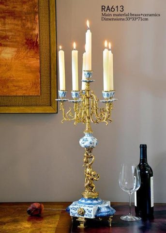 Gilt Bronze Blue and White Candlestick -  westmenlights