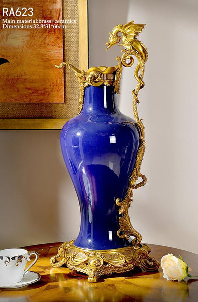 Ormolu Mounted Dragon Yellow Porcelain Vase -  westmenlights