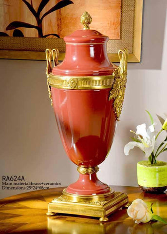 Gilt Bronze Red Temple Jar -  westmenlights