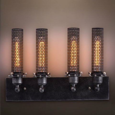 Grid 4 Lights Vanity Lighting Wall Sconce