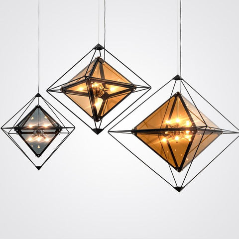 Geometric Pendant Lighting With Color Glass Shade