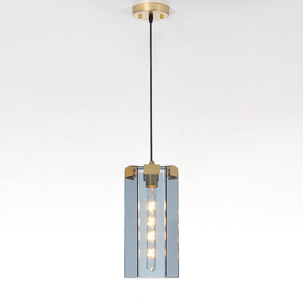 Rectangle Glass Golden Pendant Lights