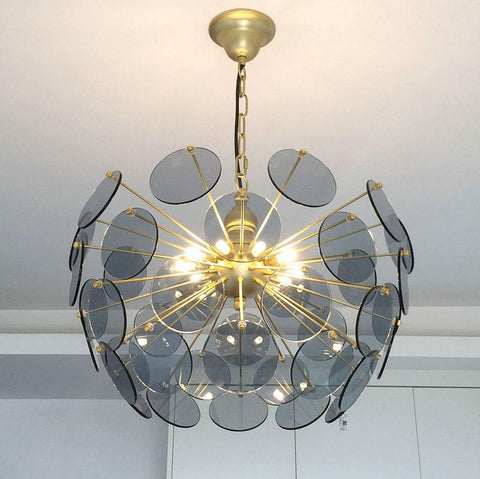 Circular Golden Lighting with Color Glass Shade