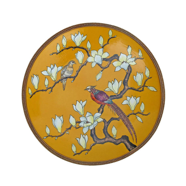 European style living room ceramic inlaid copper decorative wall plate wall decoration American ornaments crafts high-end luxury wall hanging pendant