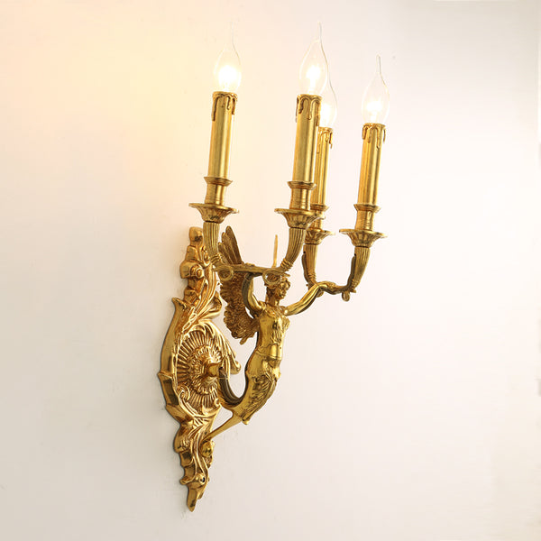 gilt bronze angel candelabra sconce -  westmenlights