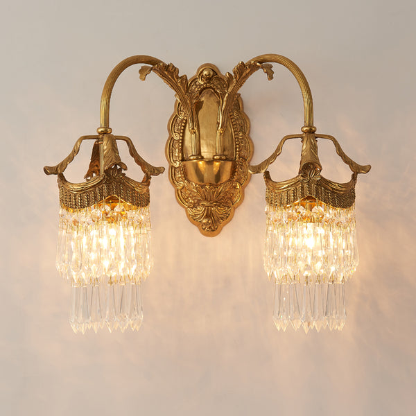 gilt bronze wall sconce with crystal lampshades -  westmenlights