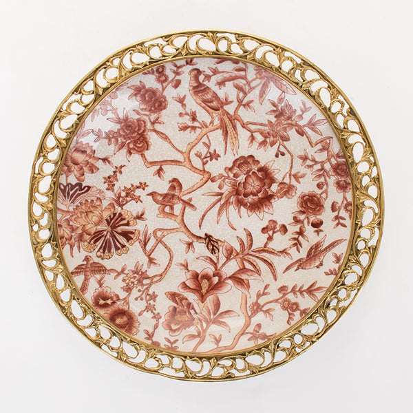 American European-style soft furnishing home furnishing accessories living room soft furnishing wall decoration wall decoration hand-painted ceramics with copper decoration hanging plate hanging plate