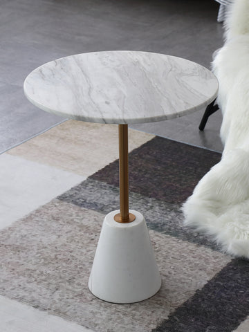 Cone Nature White & Black Marble Side Table