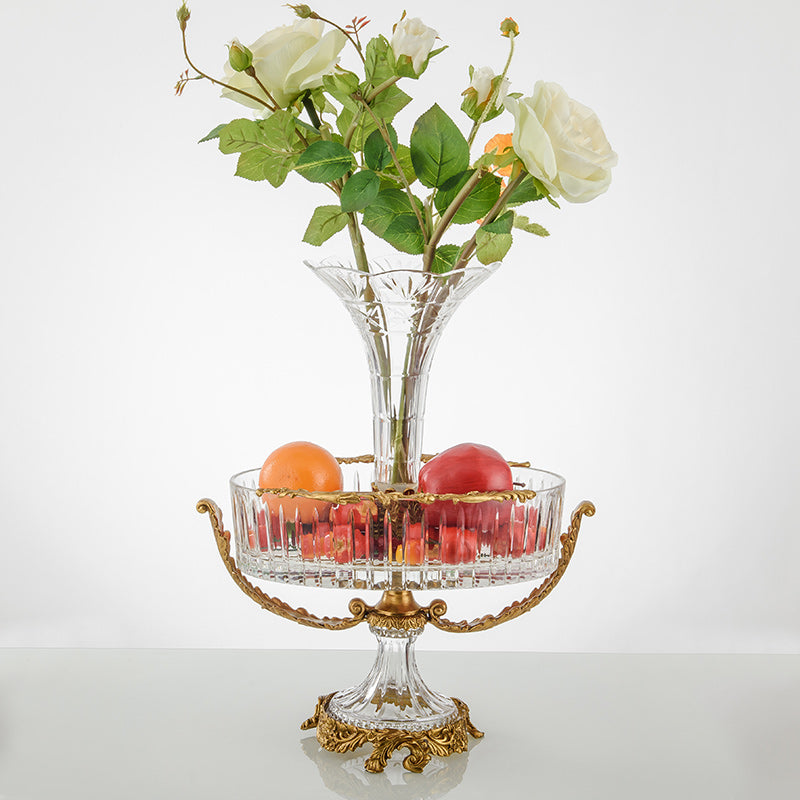 Modern Brass Crystal Flower Vase combines Fruits Bowl -  westmenlights