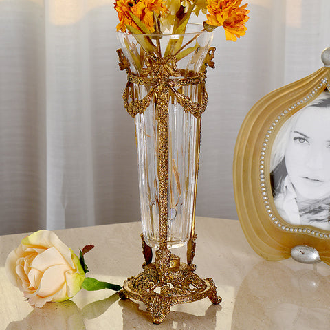 Mini Brass Crystal Flower Vase -  westmenlights