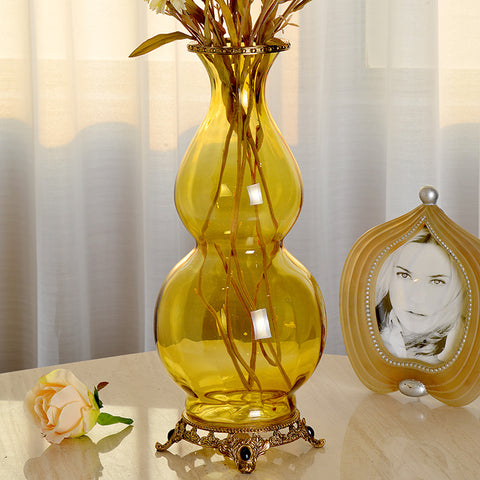Gourd Brass Crystal Flower Vase -  westmenlights