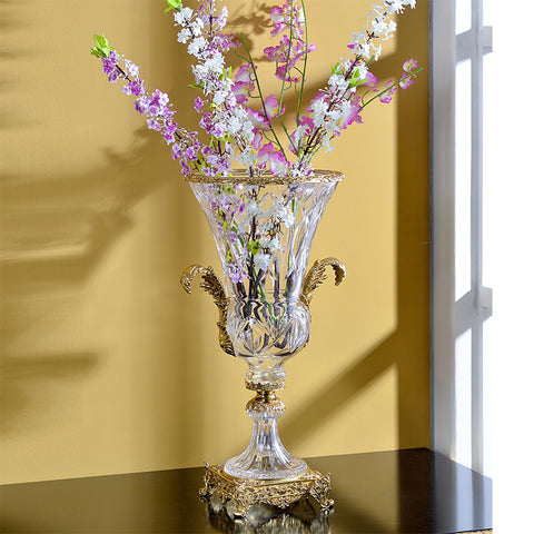 SWAN luxury home decor brass crystal flower vase -  westmenlights