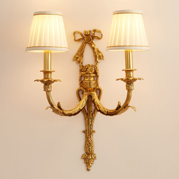 gilt bronze sconce with fabric lampshades -  westmenlights