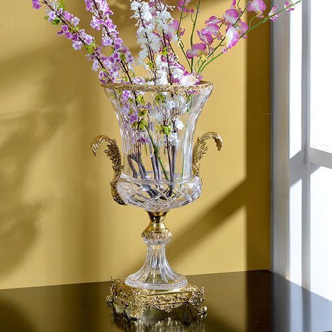 Luxury Brass Crystal Flower Vase -  westmenlights