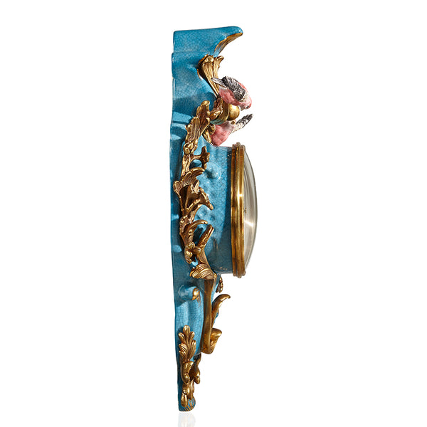 European-style luxury American-style creative home furnishing decoration jewelry wall decoration ornaments sky blue ceramic with copper wall clock