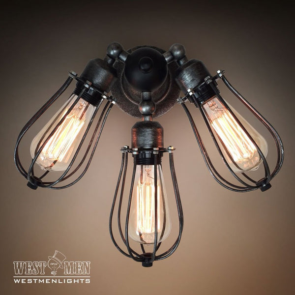 Globe 3 Lights Cage Swing Arm Wall Sconce -  westmenlights