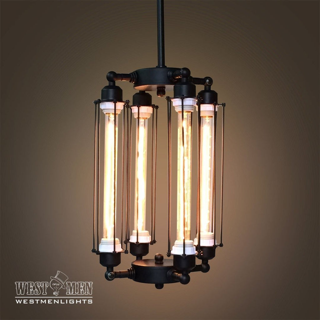 Long cylinder 4 lights metal chandelier for Lampe suspension ampoule
