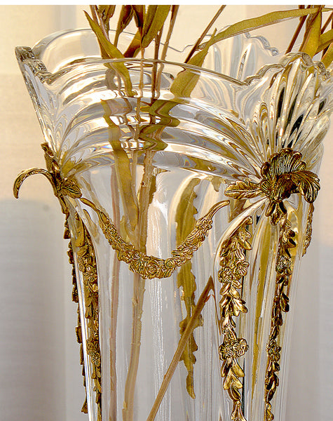 Ormolu Crystal Flower Vase Centerpiece
