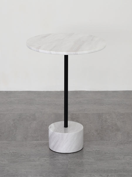 Nature White & Black Marble End Table