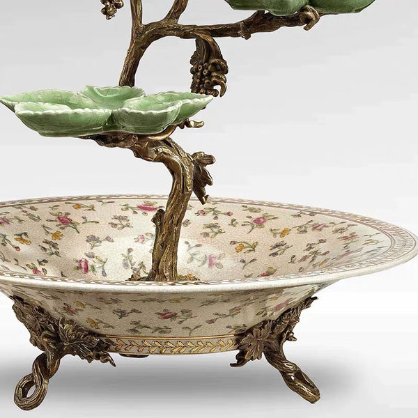 RA087 Porcelain Double Parrot Round Pot with Leaf Saucer -  westmenlights
