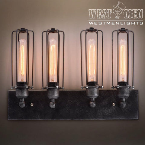 Cylinder 4 Lights Cage Vanity Lighting Sconce