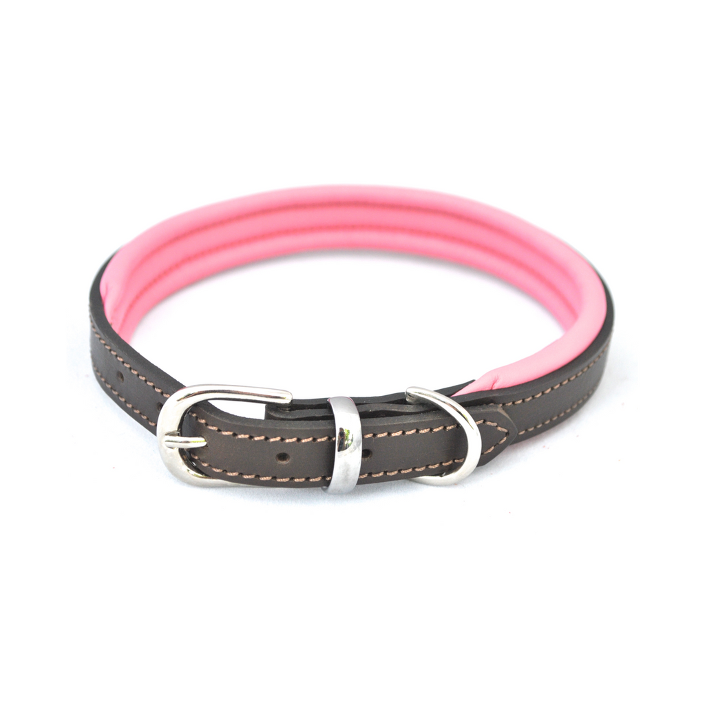 Dogs & Horses Contemporary Leather Collar - Brown & Pink