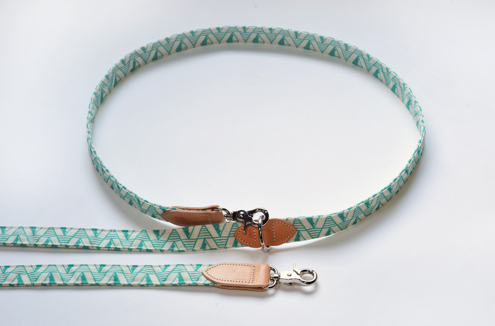 Hiro & Wolf Collar & Lead - Green Geo