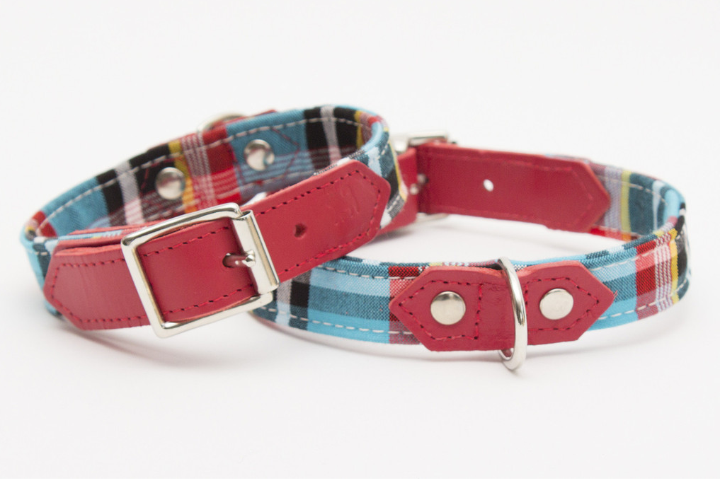 Hiro & Wolf Collar & Lead - Masai Blue Check