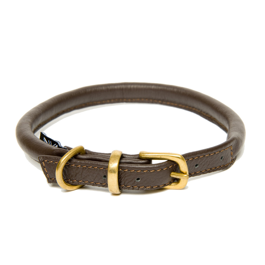Dogs & Horses Classic Rolled Leather Collar & Lead Set - Brown