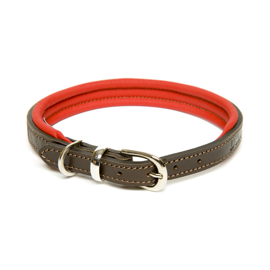 Dogs & Horses Contemporary Leather Collar - Brown & Red