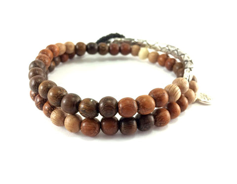 2 wrap silver and wood bead bracelet