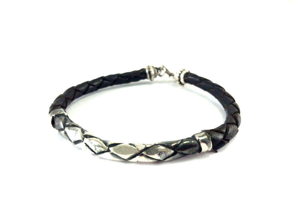 Handmade silver leather look alike with matching leather bracelet