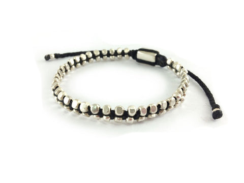 Double Row Sterling Silver Bead woven bracelet