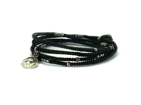 4 Wrap bracelet with silver beads and antique silver coin charm