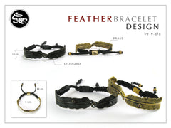 Men feather bracelet - Brass feather bracelet design 2