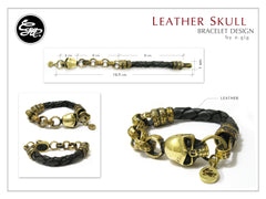 Skull bracelet for Men - Handmade skull and leather bracelet design - 2
