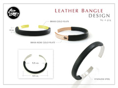 Men silver bangle - Silver bangle with leather design