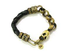 Skull bracelet for Men - Handmade skull and leather bracelet design - 4