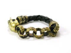 Skull bracelet for Men - Handmade skull and leather bracelet design - 5