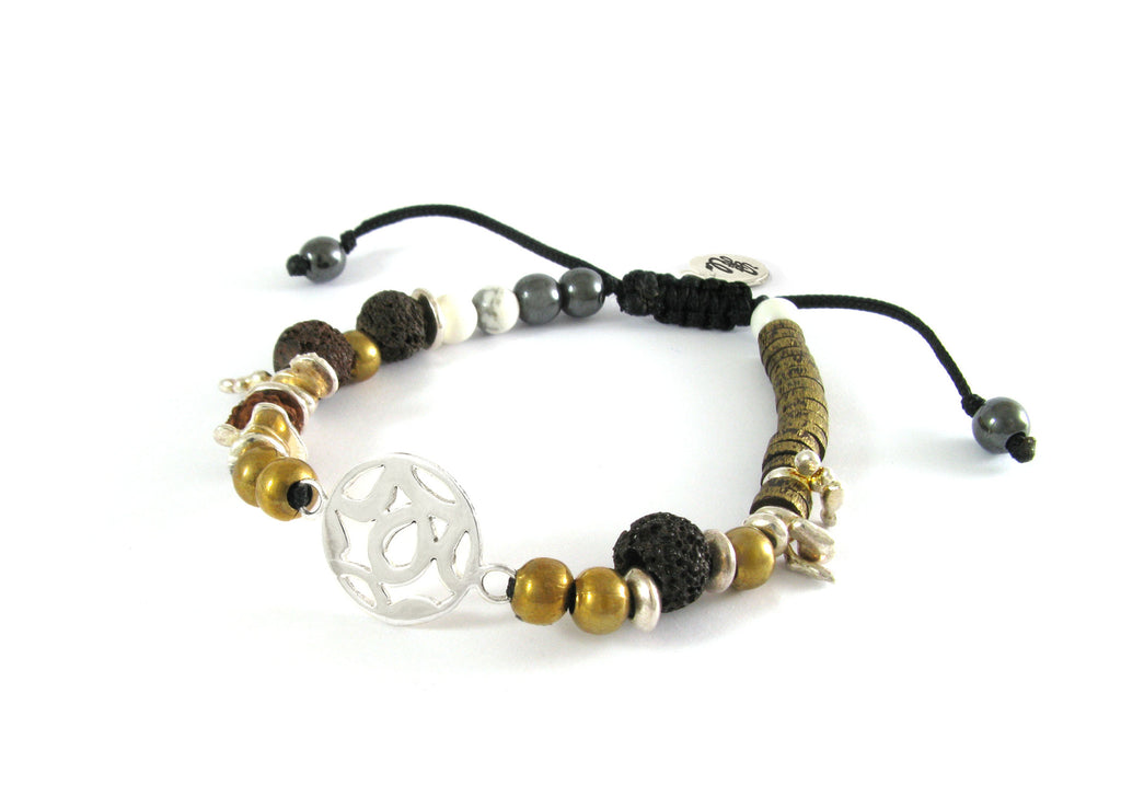 Men bead bracelet - Handmade brass beads and natural stone bracelet