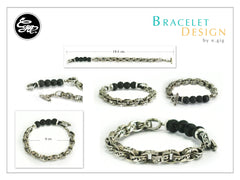 Spacial handmade silver chain bangle with lave stone 8 mm beads