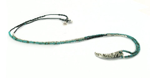 Bohemian style silver beads with black spinal and turquoise beads necklace