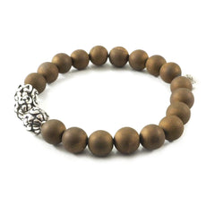 Handmade silver bead and natural stone bead bracelet