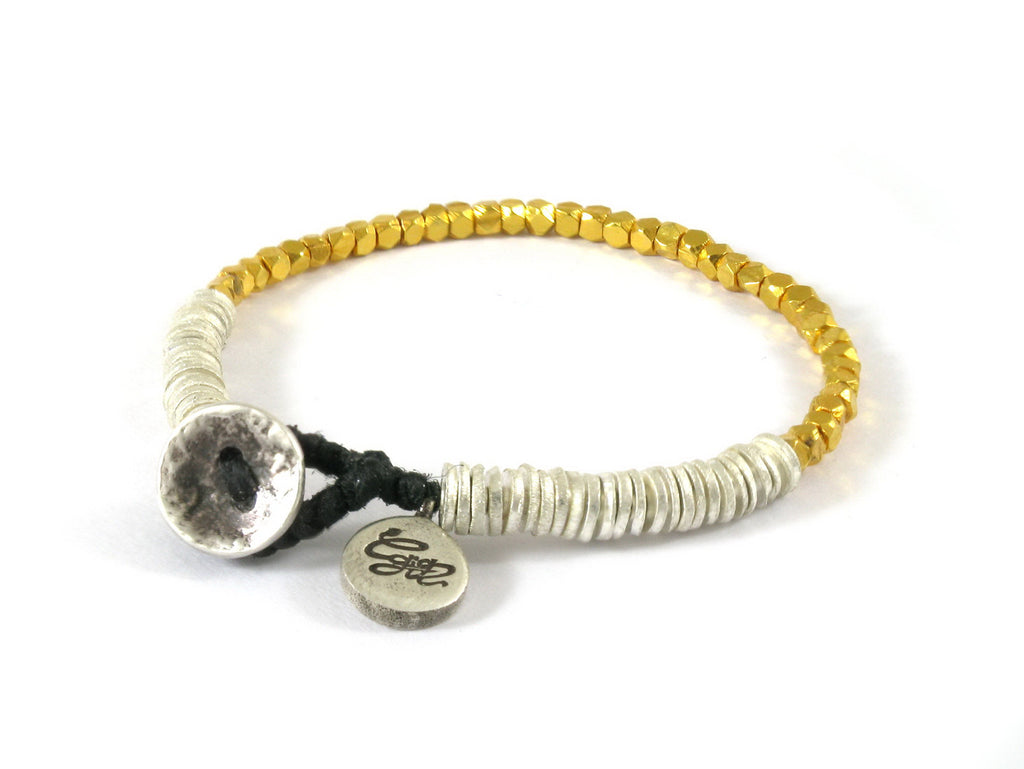 handmade silver and gold bead bracelet