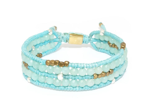 Double Aquamarine stone beads bracelet