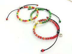 Handmade African beads and silver disk bead bracelet