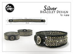 Handmade silver bracelet - silver chain and pyrite beads woven bracelet design - 2
