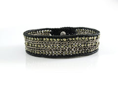 Handmade silver bracelet - silver chain and pyrite beads woven bracelet design - 3